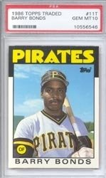 Barry Bonds Rookie card 1986 topps traded PSA 10