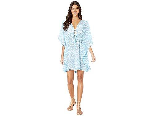 (Bleu Rod Beattie Women's Tropical Fever Strip Caftan Overboard Bleu Medium )