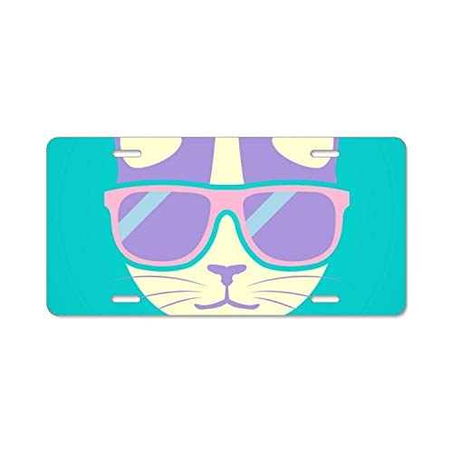 YEX Cat in Sunglasses License Plate with 4 Holes Novelty Car Licence Plate Covers Tag Sign