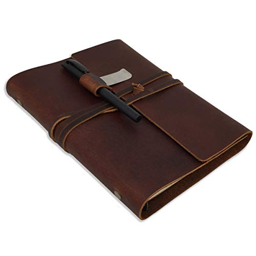 (Genuine Leather Journal w/Strap Closure (Refillable) Soft, Lay-Flat Binding | 100 Sheets of Paper, A5 Size | Work, Travel, Study, Appointments | Men and Women)