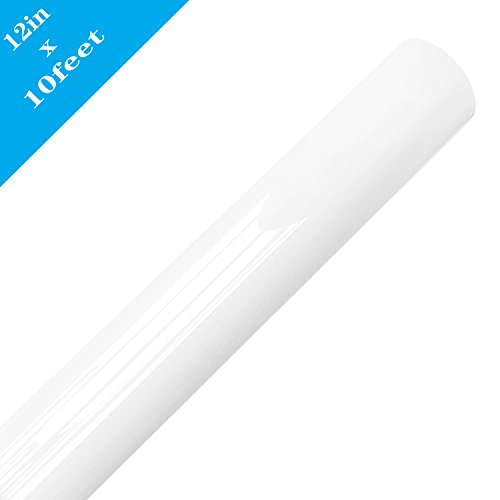 Heat Transfer Vinyl Roll 12 Inches x 10 Feet HTV Vinyl for T-Shirts (White)