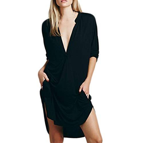 YOcheerful Womens Mini Dress Lady Deep V Neck Solid Long Shirt Bar Party Club (Black,12)