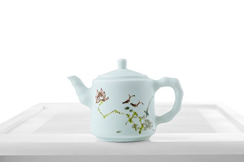 Ceramic Teapot with Handle Porcelain Tea Pot Lotus Flower Floral Chinese Teaware (cerulean, floral)
