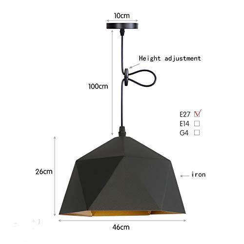 BYJUM Restaurant Light Bar Counter Cafe Bedroom Bedside Chandelier 110-220V,Black,46Cm