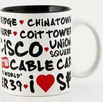 ((5 7/18) CM San Francisco Coffee Mug White Graffiti 110z SFMUGOLA With Copyrighted CA Bear Magnet)
