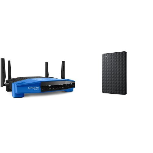Price comparison product image Linksys WRT AC1900 Dual-Band Smart Wi-Fi Wireless Router and Seagate Expansion 1TB Portable External Hard Drive