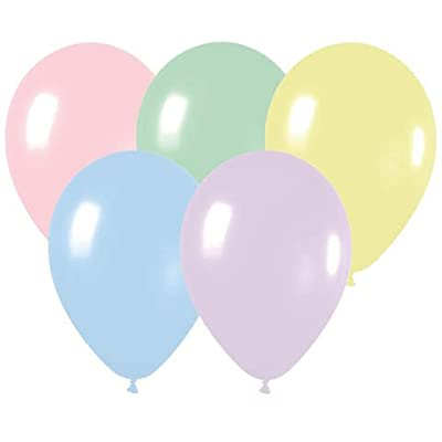 "100 Party Balloons - 11"" Round Latex, Pastel Assortment - Pastel Pink, Green, Yellow, Blue, Lilac And Peach by Betallic"