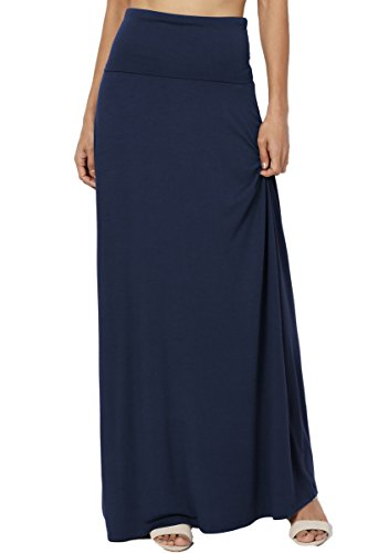 Jersey Spandex Skirt (TheMogan Women's Casual Solid Draped Jersey Relaxed Long Maxi Skirt Navy S)
