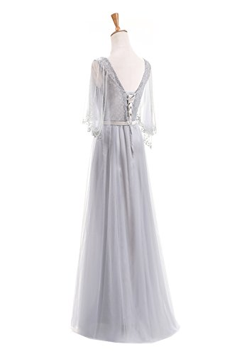 Wedding Prom Length Dresses Evening Sunvary A Silver Floor Line Sleeves Classical Gown Z6wqqnU5