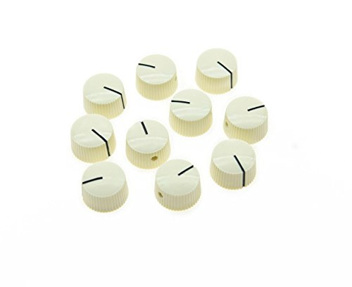 KAISH 10pcs Aged White Vintage Barrel Guitar Amplifier Knob Round Knobs with Set Screw (Sets Vintage Amps)