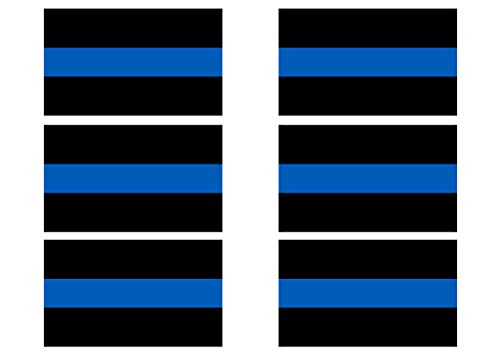 Decal Tag - Thin Blue Line Blue Lives Matter Sticker Vinyl Decal Support of Police and Law Enforcement Officers 6 Pack
