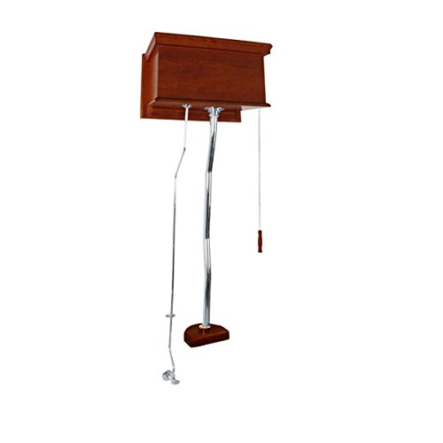 - Renovator's Supply Mahogany Flat High Tank Pull Chain Toilet With Chrome Top Entry Pipe Conversion Kit