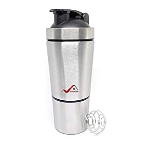 Homeish Stainless Steel Shaker for Gym with Extra Storage Compartment for Protein Shakes/Smoothies/Supplements (Silver…