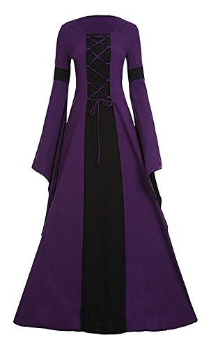 Meilidress Women Medieval Dress Lace Up Vintage Floor Length Cosplay Retro Long Dress (XXX-Large, Purple)