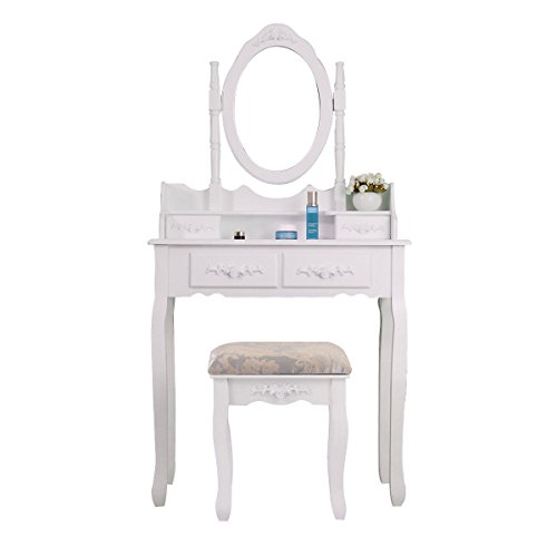 White Vanity Wood Jewelry Makeup Dressing Table Stool Set w/ 4 Drawers Bedroom + Free E-Book
