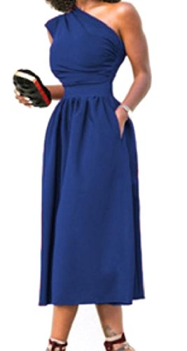 Party Shoulder Fit Asymmetric Sexy Slim Blue Pocket Coolred Women One Dress qZwR8nZ1P