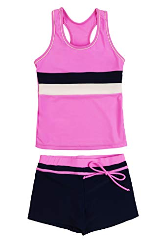 KABETY Little Girls Summer Two Piece Boyshort Fashion Tankini Swimsuit (Pink, 3-4=M)