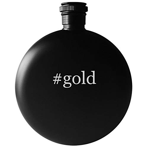 #gold - 5oz Round Hashtag Drinking Alcohol Flask, Matte Black