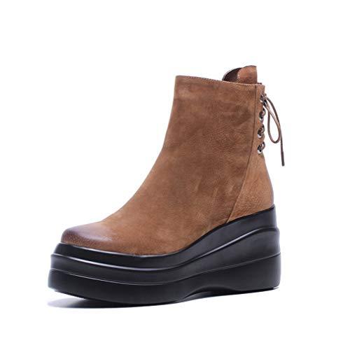 Da Cuneo Marrone Stivali Inverno Walking Stivaletti Outdoor Scarpe Donna Yan Shoes Autunno Retro Martin Piattaforma Suede 5ZgP1xvwqx