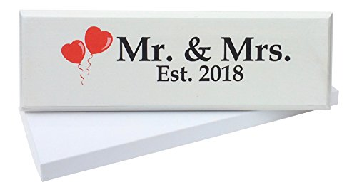 Let the Fun Begin Mr. & Mrs. 2018 Sign (GIFT BOX and STAND included) Large - Wedding Gift, Newlywed Present/Decoration