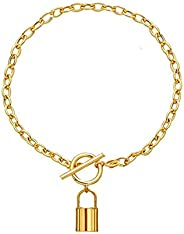 14K Gold Filled Padlock Lock Pendant Chain Necklace for Women Teen Girls Stainless Steel Lock Chain Jewelry Gi