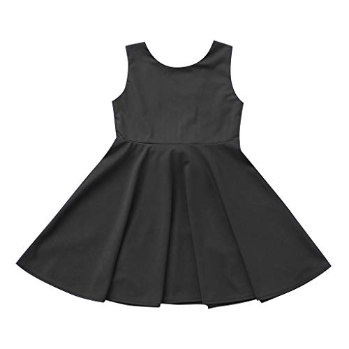MALLOOM Toddler Kid Baby Girl Sleeveless Solid Bowknot Backlesss Princess Dress Clothes Black