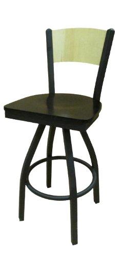 (Oak Street Manufacturing SL2150-1S-P-WB Metal Frame Plain Wood Back Swivel Series Barstool with Black Wood Seat, 18