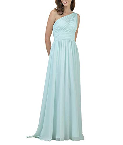 Meaningful Chiffon Long Prom Dress One Shoulder Evening Party Gown Maxi for Women Size 6 Light Blue
