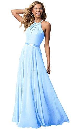 Bridesmaid Dresses Long Halter Chiffon Aline Prom Party Gown 2019 Formal Women Sky Blue 4 ()