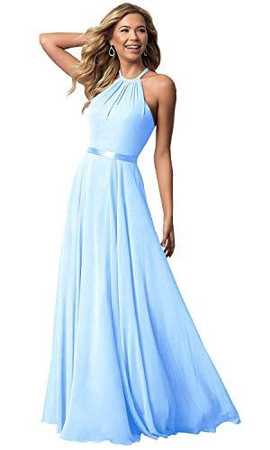 (Bridesmaid Dresses Long Halter Chiffon Aline Prom Formal Wedding Party Dress Womens Sky Blue 6)