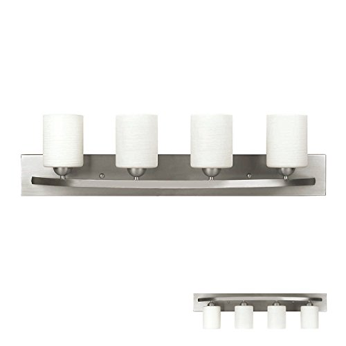 Brushed Nickel 4 Globe Vanity Bath Light Bar Interior Lighting Fixture (Globe Fixture Featuring White Glass)