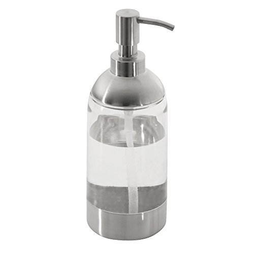 mDesign Soap Dispenser Pump for Kitchen, Bathroom Vanities - Clear/Brushed Stainless Steel