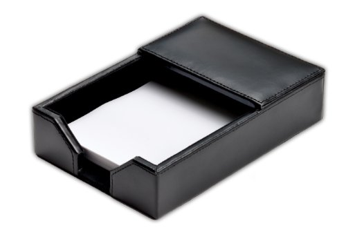 Dacasso Black Bonded Leather Memo Holder, 4-Inch by 6-Inch