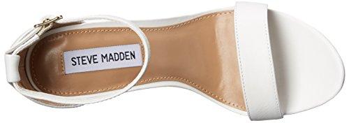 Steve tacón Madden Sandalia negro White gamuza Leather q04gazf