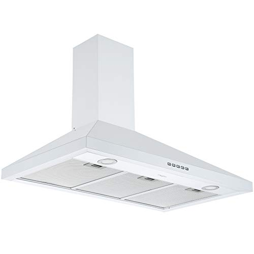 Ancona AN-1547 36 in. Convertible Wall-Mounted Pyramid Range Hood in White