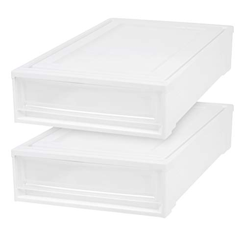 Underbed Cart - IRIS Under Bed Box Chest Drawer, White, 2 Pack