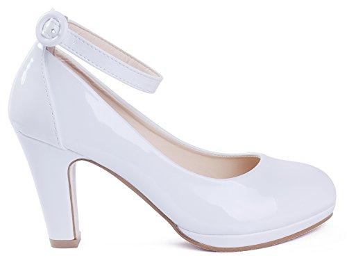 AgeeMi Shoes aux Femmes Buckle PU à Talon Haut Chaussures Légeres Blanc O2BfGiPG9