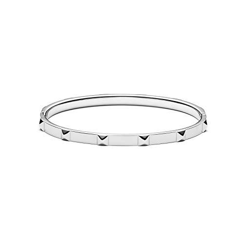 MVMT Women's Stud Thin Bangle Bracelet   Clasp Closure, Stainless Steel   Silver - Gunmetal Bracelet Bangle