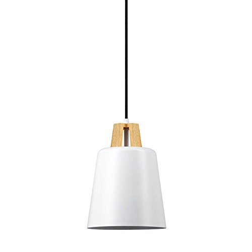 Globe Electric Jeor 1-Light Pendant, White Finish, Faux Wood Accent, 65431 by Globe Electric (Image #2)