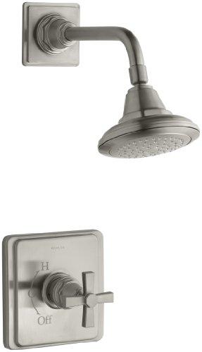 KOHLER K-T13134-3A-BN Pinstripe Pure Rite-Temp Pressure-Balancing Shower Faucet Trim, Vibrant Brushed Nickel - Bn Pinstripe Handles