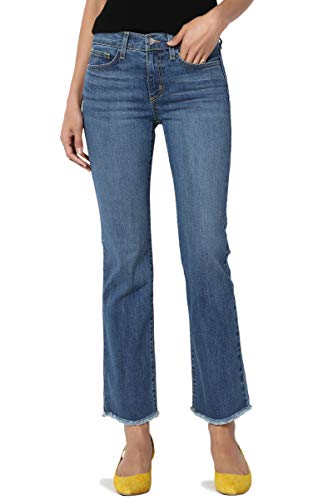 TheMogan Women's Flare Frayed Hem Mid Rise Slim Crop Bootcut Jeans USA Medium 31