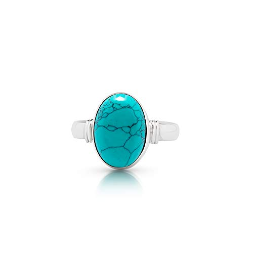 (Koral Jewelry Synthetic Turquoise Oval Stone Ring 925 Sterling Silver Vintage Boho Chic US Size 7 8 9 (7))