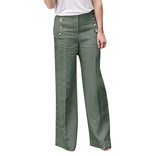 Mode Plus La Taille Pantalons Femme Jambe Large Loose Fit Pantalon lgant Couleur Unie Casual Bureau OL Leggings Pantalon Longs S-4XL Vert