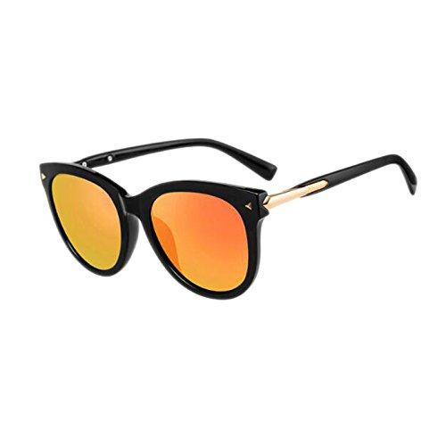Cara Salvaje orange Redondo Black Frame Sol Coreana la Gafas Moolo Sol de Personalidad Ice Versión polarizadas de Blue Marco de de HLMMM Caja Femeninas Color Redonda frame Black Retro Gafas C771cq