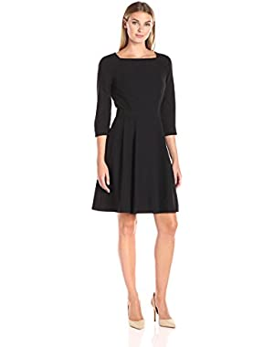 Women's Three-Quarter Sleeve Soft Flare Dress