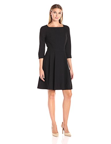 Lark & Ro Women's Elbow Sleeve Soft Flare Dress, Black, Medium