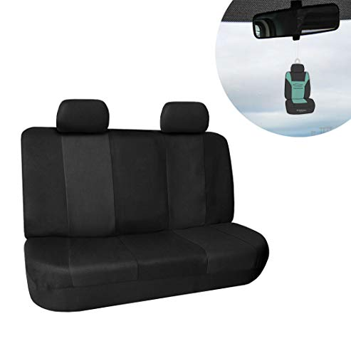 FH Group FB056012 Modern Flat Cloth Solid Bench Seat Cover, Solid/Black Color w. Free Air Freshener-Fit Most Car, Truck, SUV, or ()