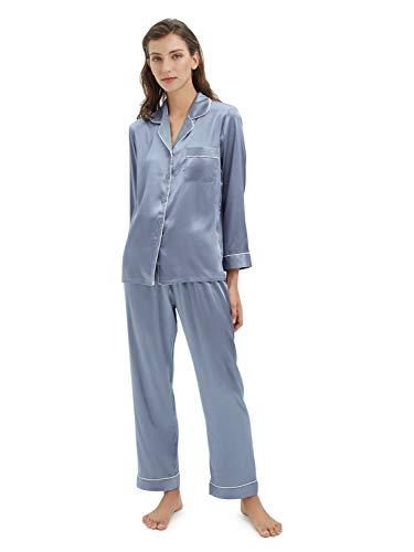 SIORO Womens Silky Satin Pajamas Set Sleepwear Loungewear Button Down Pijamas Long Sets, Blue Grey, Small