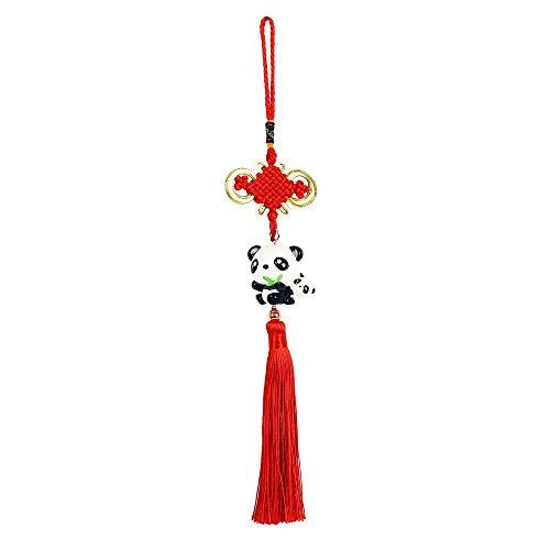 Panda_mall Handmade Chinese Knot Tassel Panda Accessories Hanging Ornament Car Rear View Mirror Ornament Car Pendant Christmas Day Gift (Panda Father) -