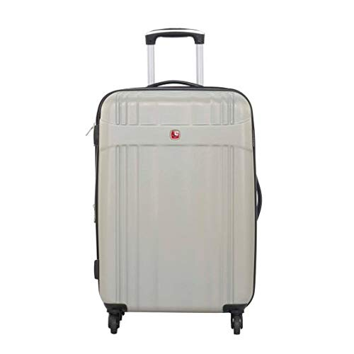 Swiss Gear Polycarbonate 24 Inch Expandable Luggage Spinner  Silver